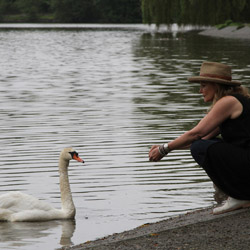 Actor Helen Shaver as 'Pearl' with the swans at Lost Lagoon
