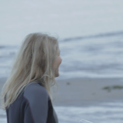 Actor Helen Shaver as 'Pearl' and writer/director Ben Ratner discuss a shot at Third Beach