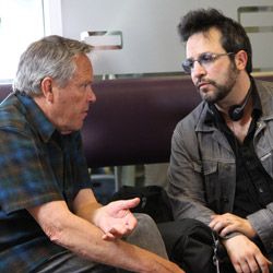 "Actor Tom McBeath as ""Bob"" (left) discusses a scene with writer/director Ben Ratner"