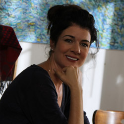 Actor Gabrielle Miller as 'Fawn' in between takes
