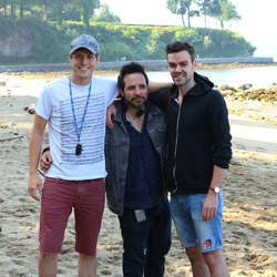From left to right: Producer Andrew Halliwell, writer/director Ben Ratner and producer James Brown between set-ups at Third Beach