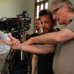 Director of Photography Larry Lynn (right) goes over a shot with writer/director Ben Ratner