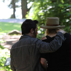 Writer/director Ben Ratner talks over a scene with actor Helen Shaver as 'Pearl' in Stanley Park