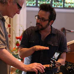 Writer/director Ben Ratner (right) discusses a shot with director of photography Larry Lynn
